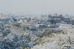 View of Kyoto City from Kiyomizu-dera temple. Royalty Free Stock Images