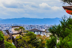 View of Kyoto city from Kiyomizu temple with dramatic cloudy sky Royalty Free Stock Images