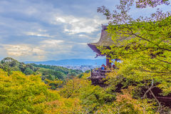 View of Kyoto city from Kiyomizu temple with dramatic cloudy sky Royalty Free Stock Image