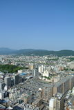 The view from Kyoto tower hotel in Kyoto city in Japan. Kyoto tower hotel in Kyoto city near the railway station. 131 metres hight Stock Photos