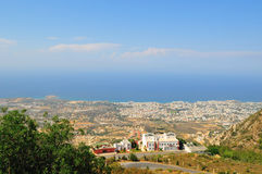 View Kyrenia from St Hilarion. View taken from atop St Hilarion Castle, Girne, Cyprus Royalty Free Stock Photo