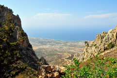 View Kyrenia from St Hilarion. View taken from atop St Hilarion Castle, Girne, Cyprus Stock Photography