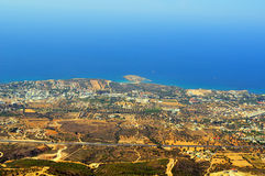 View Kyrenia from St Hilarion. View taken from atop St Hilarion Castle, Girne, Cyprus Royalty Free Stock Images