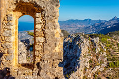 View of Kyrenia from St Hilarion Castle. Kyrenia District, Cyprus royalty free stock image