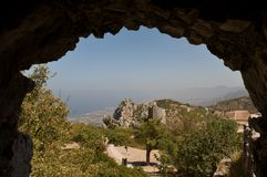 View Kyrenia from St Hilarion Stock Photo