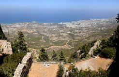 View Kyrenia from St Hilarion Stock Images