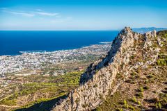 View of Kyrenia town from St Hilarion Castle. Kyrenia District, stock photo