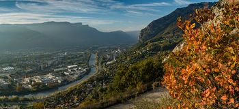 View from La Bastille in Grenoble. View from the La Bastille hill in Grenoble in autumn Stock Photography