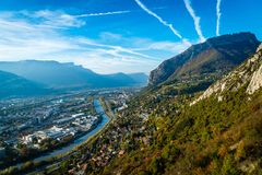 View from La Bastille in Grenoble. View from the La Bastille hill in Grenoble in autumn Stock Photos