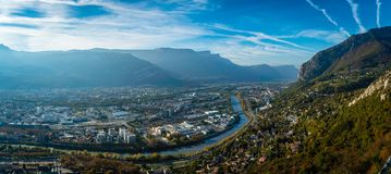 View from La Bastille in Grenoble. View from the La Bastille hill in Grenoble in autumn Stock Image