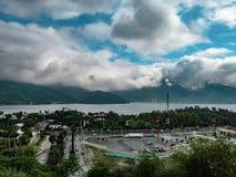 View of La Boca Dam `Presa de la Boca` from a belvedere located in the town of Santiago stock photography