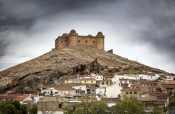 View of La Calahorra town and the ancient Castle-Palace, Province of Granada, Spain Stock Photos