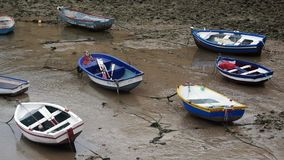 Boats Grounded at Caleta Cadiz Spain stock video footage