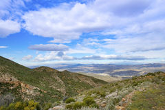 View from La Carrasca Towards Sorbas. Near Mojacar Playa, Almeria Province, Andalusia, Spain stock photography