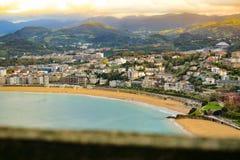View of La Concha beach at San Sebastian, Donostia from monte Igeldo royalty free stock photo