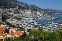 View of La Condamine ward and Port Hercules in Monaco Stock Photography