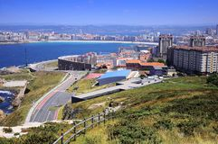 View of La Coruna, Spain. View of sea coast and part of the city, La Coruna, Spain Royalty Free Stock Photos