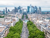 View of the La Défense business district from the top of the Arc de TriomphePlace Charles de Gaulle stock photo