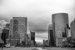 View of La Defense buildings, a major business district of the city, Paris, France. royalty free stock image