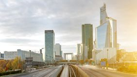 La defense district in Paris , France. View of La defense district in Paris , France Stock Photo