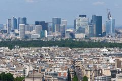 View of La Defense from the Eiffel tower Royalty Free Stock Photography