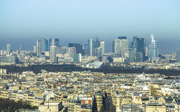 View on La Defense from Eiffel Tower in Paris Royalty Free Stock Photography