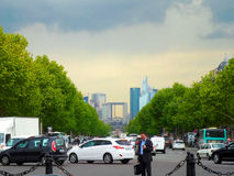 View of La Defense. From the Place Charles de Gaulle, Paris, France Royalty Free Stock Image