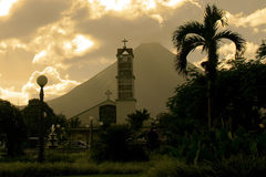 La Fortuna Church and Arenal Volcano Stock Images