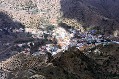 View of La Gomera, Canary Islands, Spain. Town Vallehermoso among mountains on an island La Gomera, Canary islands stock photography