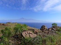 View from La Gomera to Tenerife royalty free stock photography