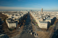 View of La Grande Armee Avenue from Arc de Triomphe. Aerial view  of La Grande Armee Avenue from Arc de Triomphe with business district La Defense in the Stock Photography