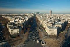 View of La Grande Armee Avenue from Arc de Triomphe. Aerial view  of La Grande Armee Avenue from Arc de Triomphe with business district La Defense in the Stock Photography