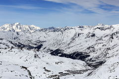The view from La Grande Motte, Winter ski resort of Tignes-Val d Isere, France Royalty Free Stock Images