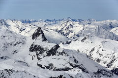 The view from La Grande Motte, Winter ski resort of Tignes-Val d Isere, France Royalty Free Stock Photo