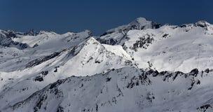 The view from La Grande Motte, Winter ski resort of Tignes-Val d Isere, France Stock Photos