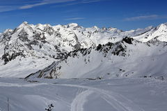 The view from La Grande Motte, Winter ski resort of Tignes-Val d Isere, France Royalty Free Stock Photography