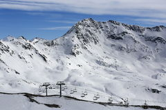The view from La Grande Motte, Winter ski resort of Tignes-Val d Isere, France Royalty Free Stock Photos
