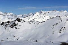 The view from La Grande Motte, Winter ski resort of Tignes-Val d Isere, France Stock Photo