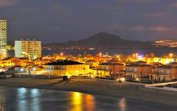 View of la Manga del Mar Menor at night. View of la Manga del Mar Menor, Murcia, Spain Royalty Free Stock Photography