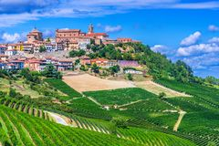 View of La Morra in the Province of Cuneo, Piedmont, Italy.  stock images