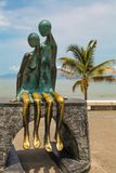 La Nostalgia statue at Puerto Vallarta in Mexico. View at La Nostalgia statue at Puerto Vallarta in Mexico. It was made by Jose Ramiz Barquet in 1984 Royalty Free Stock Photos