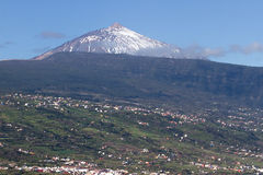 View of La Orotava valley and snowcapped volcano Teide Royalty Free Stock Images