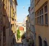View at La Part Dieu Lyon from a charming, narrow alley in Vieux Lyon royalty free stock image