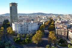 View of La Rambla in Barcelona, Spain Stock Photos