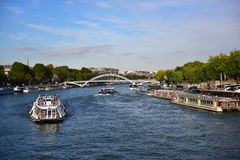 View of La Seine river from Pont d'lena bridge next to Eiffel Tower in Paris Stock Image