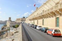 View at La Valletta, the capital city of Malta. La Valletta, Malta - 2 Novembre 2017: View of Valletta, the capital city of Malta Royalty Free Stock Photos