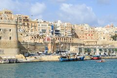 View at La Valletta, the capital city of Malta. La Valletta, Malta - 2 Novembre 2017: View of Valletta, the capital city of Malta Royalty Free Stock Image