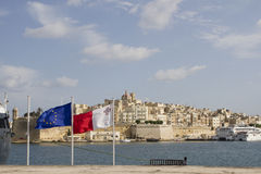 View at La Valletta, Malta with a flags. View at La Valletta, Malta with Maltese and European flags Royalty Free Stock Photo