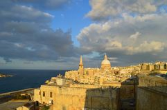 Sunset of Malta. La Valletta`s view. old town royalty free stock image