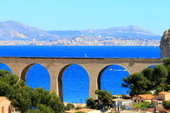 View from La Vesse upon sunny Marseille, France Stock Images